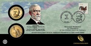 Benjamin Harrison Presidential $1 Coin Cover