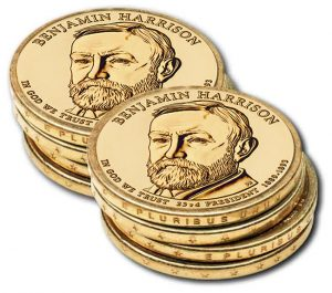 Edges of Benjamin Harrison Presidential $1 Coins