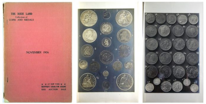 Geoffrey Charlton Adams auction catalogue from 1906 with two photographic plates
