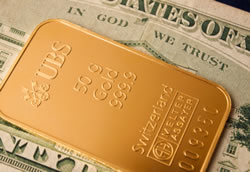 Gold bar and money