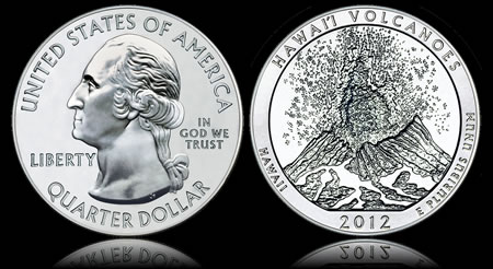 Hawaii Volcanoes National Park Five Ounce Silver Bullion Coin