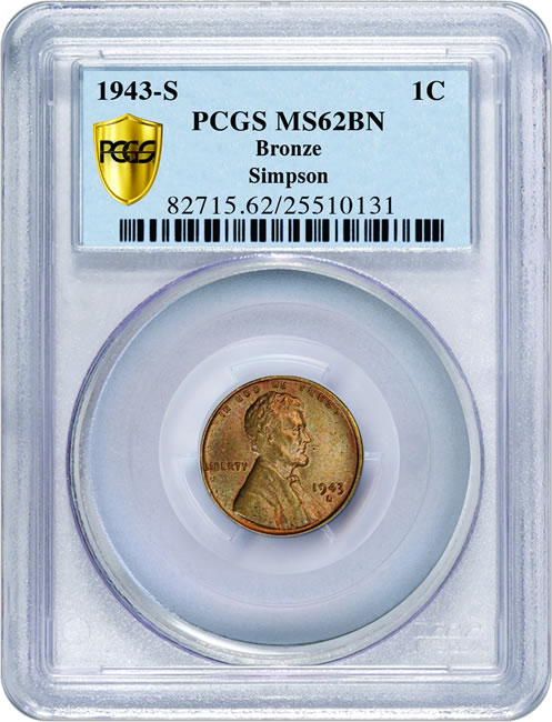 Simpson 1943-S bronze 1c PCGS MS62BN