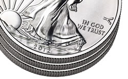 Three Stacked American Silver Eagle Coins