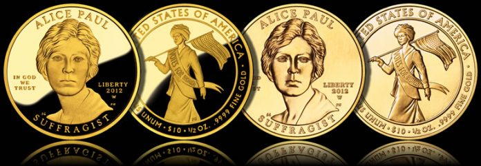 2012 Alice Paul and the Suffrage Movement Gold Coins