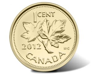 2012 Canadian Farewell to the Penny 1/25 oz Gold 1 Cent Coin