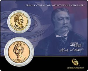 2012 Chester Arthur $1 and Alice Paul Bronze Medal Set