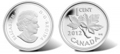 2012 Maple Twig Design (1937-1966, 1968-2012) 1 Cent Silver Coin
