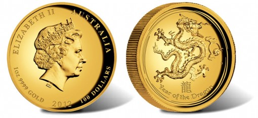 2012 Year of the Dragon High Relief 1 oz Gold Proof Coin