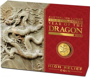 2012 Year of the Dragon High Relief Gold Proof Coin Shipper