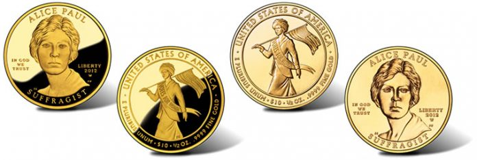 Alice Paul Suffrage Movement Gold Coins