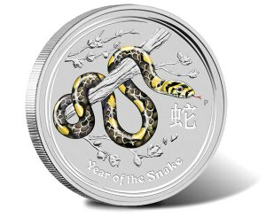 Australian 2013 Year of the Snake 1 Kilo Gemstone Silver Coin