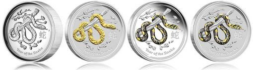 Australian 2013 Year of the Snake Silver Coins - High Relief, Gilded, Colored, Gemstone