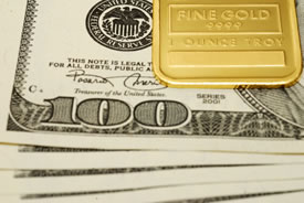 Fine Gold and US $100 bills