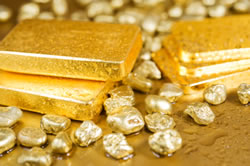 Gold bars, gold nuggets