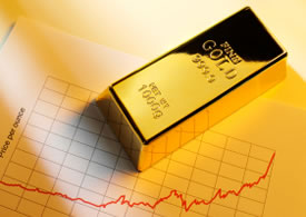 One gold bar and chart