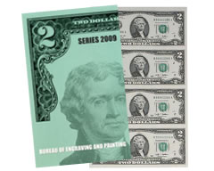 Series 2009 $2 Uncut Currency Sheet