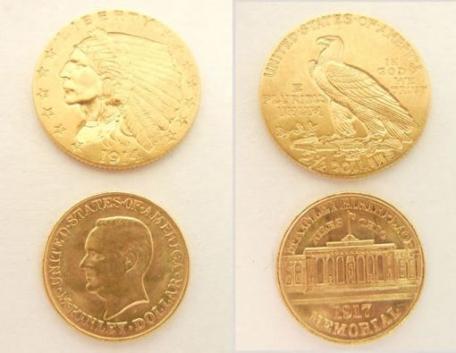 US gold piece and McKinley Commemorative $1 gold piece