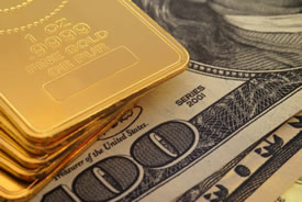 US money and gold bars
