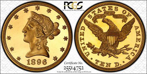1896 PCGS PR66+ DCAM CAC $10