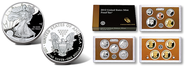 2012 Proof Silver Eagle and 2012 Proof Set