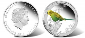Budgerigar Lands on 2013 Australian Silver Proof Coin