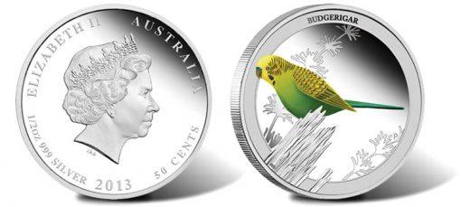 2013 Budgerigar 1/2 oz Silver Proof Coin