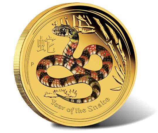 Australian 2013 Year Of The Snake Coins In Color And
