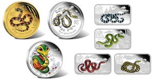 Australian 2013 Year of the Snake Coins in Color and Rectangle Size