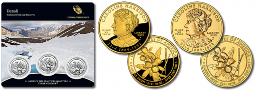 Denali Quarters Three-Coin Set and Caroline Harrison First Spouse Gold Coins