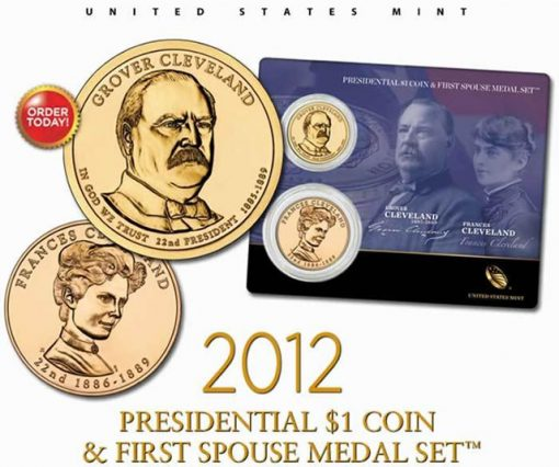 Grover Cleveland Presidential $1 Coin & First Spouse Medal Set - First Term