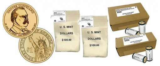 Grover Cleveland (Second Term) Presidential $1 coin, rolls, bags and boxes