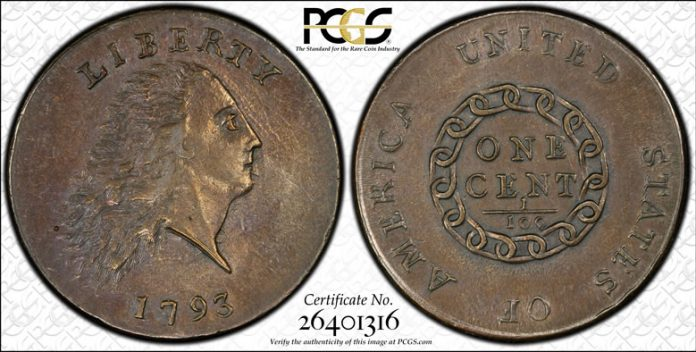 PCGS MS63BN 1793 Chain AMERICA large cent