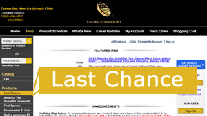 US Mint Last Chance Products Page