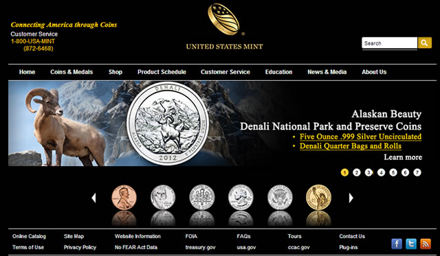 US Mint Website Featuring 2012 Denali National Park Quarter