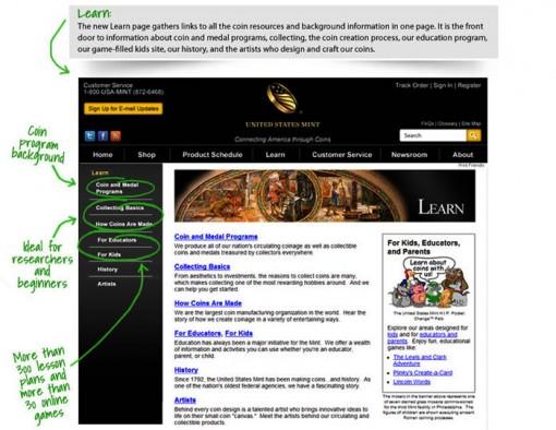 US Mint Website Learn Section