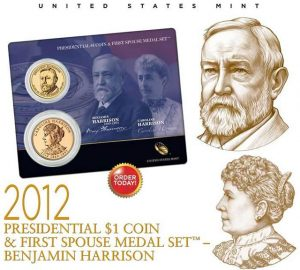 Benjamin and Caroline Harrison Presidential $1 Coin and First Spouse Medal Set