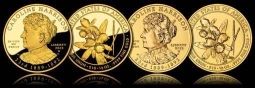 Caroline Harrison First Spouse Gold Coins