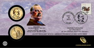 Grover Cleveland Presidential $1 Coin Cover for Second Term