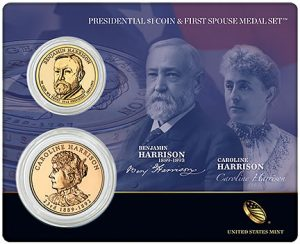 Harrison Presidential $1 Coin and First Spouse Medal Set