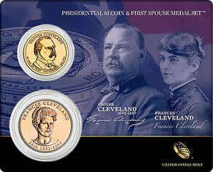 Second Term Grover and Frances Cleveland Presidential $1 Coin and Frist Spouse Medal Set