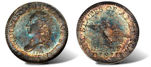 Superb Gem 1792 silver half disme
