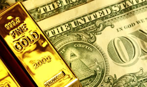 US Dollars and Gold Bars