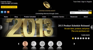 US Mint Website and 2013 Product Schedule