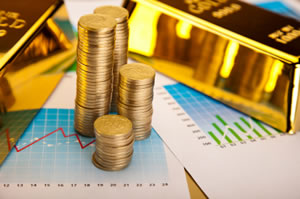 gold, charts and coins
