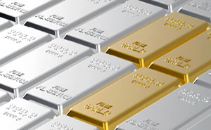 silver and gold bullion bars