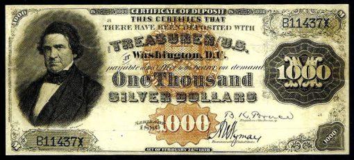 1880 $1,000 Silver Certificate of Deposit