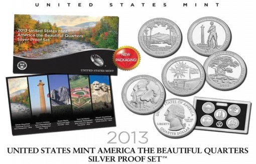 2013 America the Beautiful Quarters Silver Proof Set and Packaging
