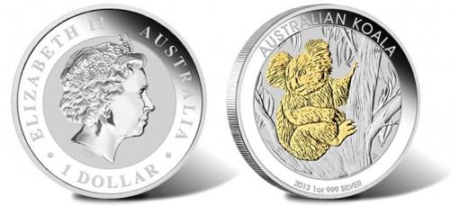 2013 Australian Koala Gilded Edition Silver Coin