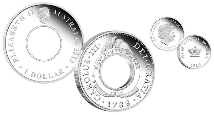 2013 Holey Dollar and Dump Coins in Commemorate 200th Anniversary Silver Proof Set