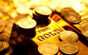 Gold bullion bars and American Eagle bullion coins
